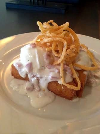 Lucky 32's Deep Fried Grit Cake with Poached Egg & Country Ham Sauce