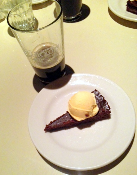 For the sweet finale: Flourless Mocha Grand Marnier Cake with Orange Creamsicle Ice Cream, paired with the Hickory Stick Stout. The cake melted in my mouth, the ice cream made me nostalgic for my childhood, and the stout was the perfect compliment, with its notes of chocolate and orange.