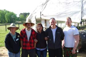 From left to right: Inner Faith Food Shuttle Farm Manager Kay Coleman, NC Regrown Farmer Jesse Crouch, Incubator Farmer Maria from LuLu's Farm, Lucky 32 Executive Chef Russell Shinn, and Black Hat Jonny Hazel.