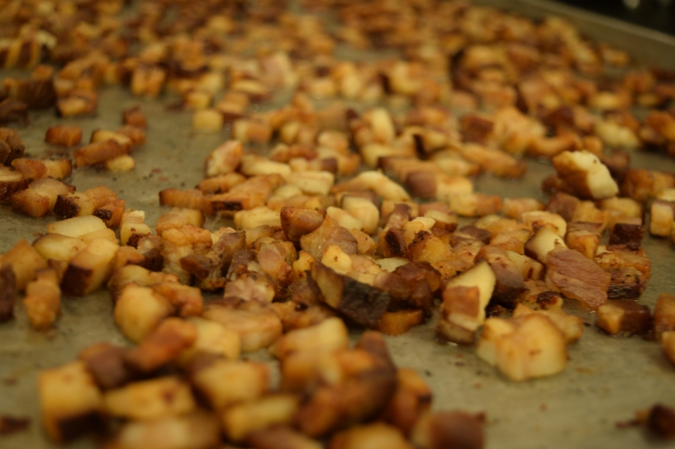 L32 Tidbit: We make our own bacon from Hickory Nut Gap and cure and smoke it in-house.
